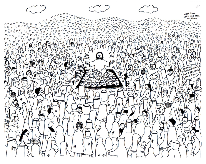 Jesus Feeds 5,000 | Jesus' Ministry | Online Coloring Book